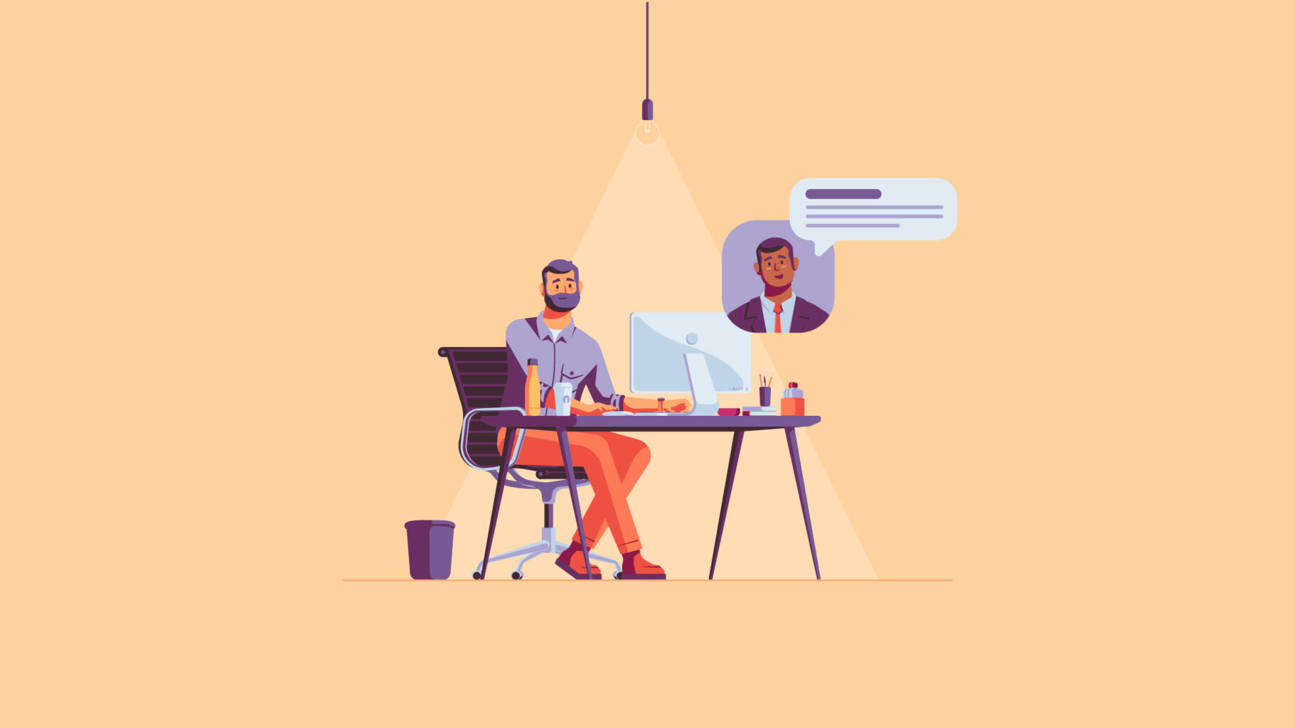 Illustration system home office scene