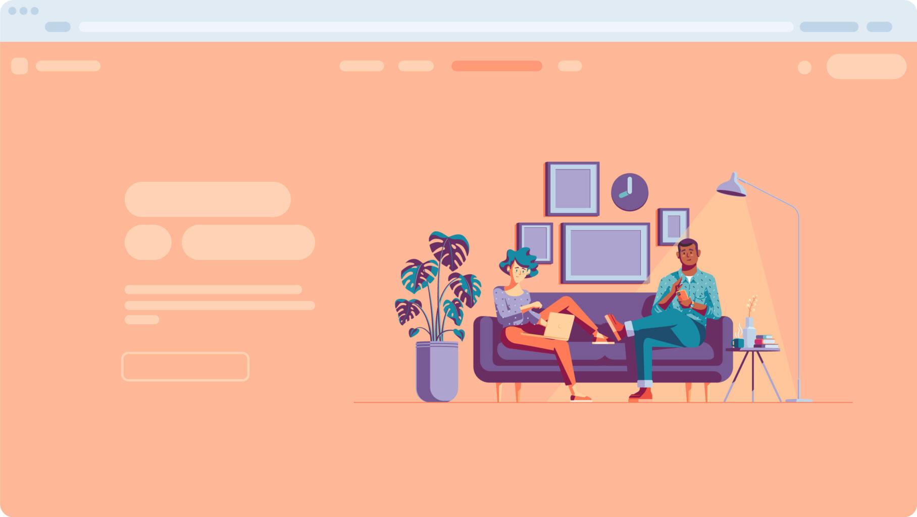 Illustration system sofa scene