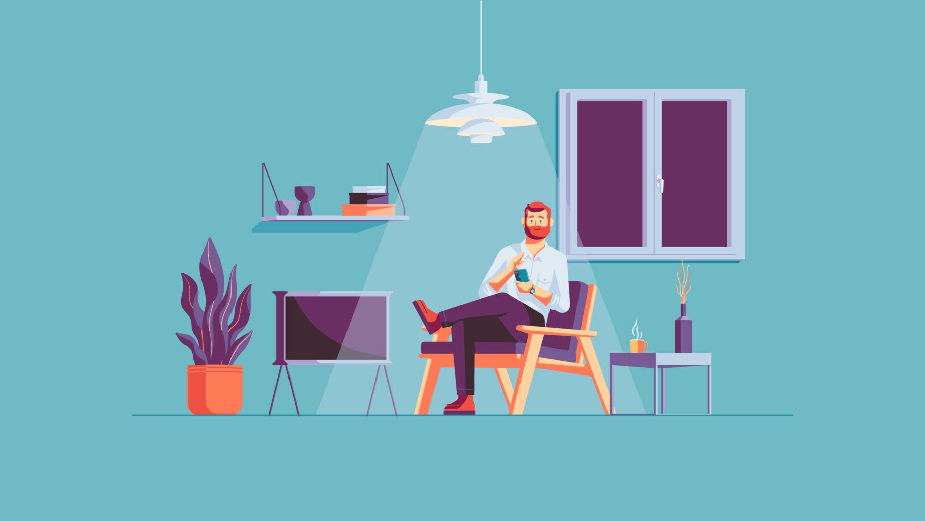 Illustration system living room scene