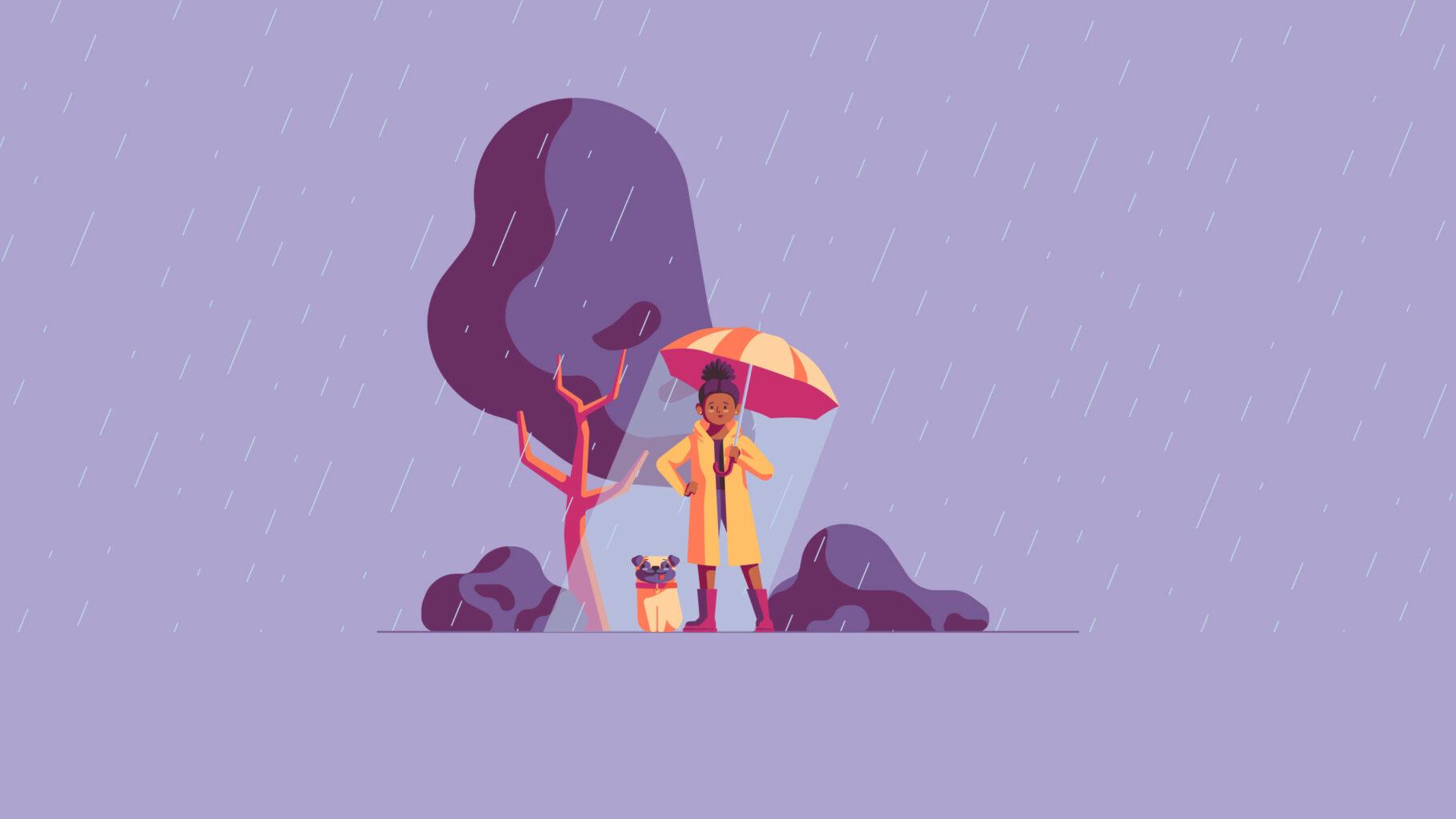 Illustration system rainy day scene