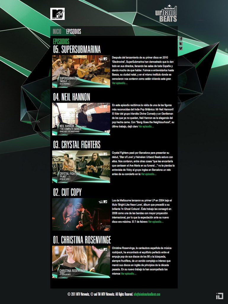 MTV Heinneken Urband Beats Microsite 02